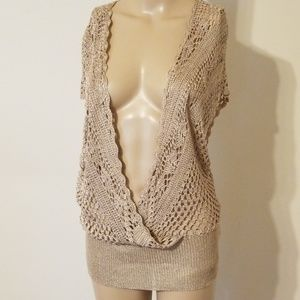 BCBGMAXAZRIA Open Wrap Crochet Top
